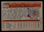 1957 Topps #279  Bob Thurman  Back Thumbnail