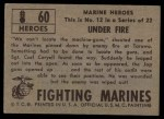 1953 Topps Fighting Marines #60   Under Fire Back Thumbnail