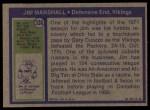 1972 Topps #336  Jim Marshall  Back Thumbnail