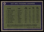 1972 Topps #4   -  Roger Staubach / Greg Landry / Billy Kilmer NFC Passing Leaders Back Thumbnail