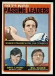 1972 Topps #4   -  Roger Staubach / Greg Landry / Billy Kilmer NFC Passing Leaders Front Thumbnail
