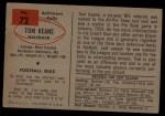 1954 Bowman #72  Tom Keane  Back Thumbnail
