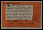 1956 Topps Davy Crockett #50 ORG  Davy Arrives  Back Thumbnail