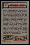 1956 Topps U.S. Presidents #9  John Quincy Adams  Back Thumbnail