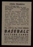 1952 Bowman #247  John Pramesa  Back Thumbnail