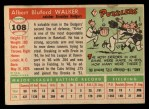 1955 Topps #108  Rube Walker  Back Thumbnail