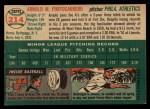 1954 Topps #214  Arnie Portocarrero  Back Thumbnail