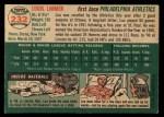 1954 Topps #232  Lou Limmer  Back Thumbnail