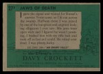 1956 Topps Davy Crockett #27 GRN  Jaws of Death  Back Thumbnail