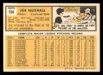 1963 Topps #194  Joe Nuxhall  Back Thumbnail