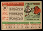 1955 Topps #87  Frank House  Back Thumbnail