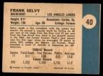1961 Fleer #40  Frank Selvy  Back Thumbnail