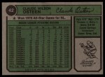 1974 Topps #42  Claude Osteen  Back Thumbnail