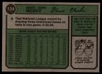 1974 Topps #134  Denis Menke  Back Thumbnail