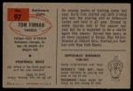 1954 Bowman #97 COR Tom Finnan  Back Thumbnail