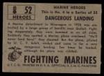 1953 Topps Fighting Marines #52   Dangerous Landing Back Thumbnail