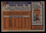 1976 Topps #89  Charlie Joiner  Back Thumbnail