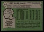 1978 Topps #65  Terry Bradshaw  Back Thumbnail