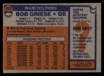 1976 Topps #255  Bob Griese  Back Thumbnail