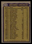 1979 Topps #113   Browns Leaders Checklist Back Thumbnail
