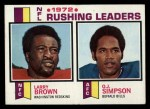 1973 Topps #1   -  Larry Brown / O.J. Simpson / Larry Brown Rushing Leaders Front Thumbnail