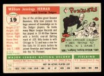 1955 Topps #19  Billy Herman  Back Thumbnail