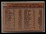 1976 Topps #477   Buccaneers Team Checklist Back Thumbnail