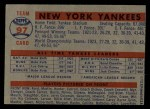 1957 Topps #97   Yankees Team Back Thumbnail