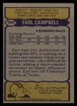 1979 Topps #390  Earl Campbell  Back Thumbnail
