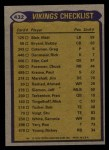 1979 Topps #432   Vikings Leaders Checklist Back Thumbnail