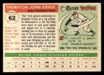 1955 Topps #62  Thornton Kipper  Back Thumbnail