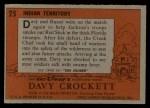 1956 Topps Davy Crockett #25 ORG  Indian Territory  Back Thumbnail