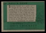 1956 Topps Davy Crockett #63 GRN  Davy's Song  Back Thumbnail