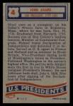 1956 Topps U.S. Presidents #4  John Adams  Back Thumbnail