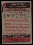 1977 Topps #65  Jim Zorn  Back Thumbnail