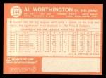 1964 Topps #144  Al Worthington  Back Thumbnail