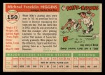 1955 Topps #150  Mike Higgins  Back Thumbnail