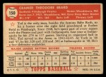 1952 Topps #150  Ted Beard  Back Thumbnail