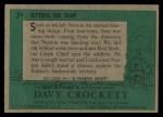 1956 Topps Davy Crockett #7 GRN  Setting the Trap  Back Thumbnail