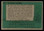 1956 Topps Davy Crockett #37 GRN  Flying Tackle  Back Thumbnail