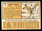 1963 Topps #178  Johnny Edwards  Back Thumbnail