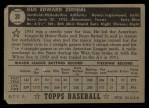 1952 Topps #31 BLK Gus Zernial  Back Thumbnail