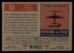 1952 Topps Wings #50   Meteor Back Thumbnail