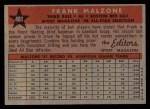 1958 Topps #481   -  Frank Malzone All-Star Back Thumbnail