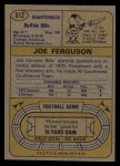 1974 Topps #512  Joe Ferguson  Back Thumbnail