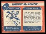 1968 Topps #9  John McKenzie  Back Thumbnail