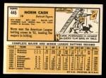 1963 Topps #445 TCH Norm Cash  Back Thumbnail