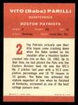 1963 Fleer #2  Babe Parilli  Back Thumbnail