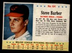 1963 Post Cereal #64  Steve Barber  Front Thumbnail