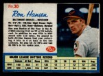 1962 Post Cereal #30 Xdsh Ron Hansen   Front Thumbnail